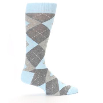 Image of Capri Blue Gray Argyle Men's Dress Socks (side-1-24)