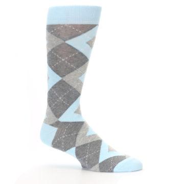 Image of Capri Blue Gray Argyle Men's Dress Socks (side-1-25)