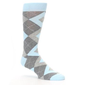 Image of Capri Blue Gray Argyle Men's Dress Socks (side-1-26)