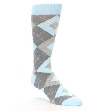 Image of Capri Blue Gray Argyle Men's Dress Socks (side-1-27)