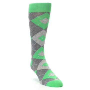 Image of Kelly Green Gray Argyle Men's Dress Socks (side-1-front-02)