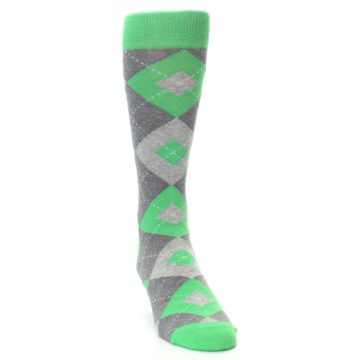 Image of Kelly Green Gray Argyle Men's Dress Socks (side-1-front-03)