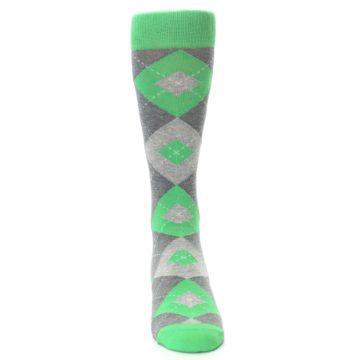 Image of Kelly Green Gray Argyle Men's Dress Socks (front-04)