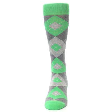 Image of Kelly Green Gray Argyle Men's Dress Socks (front-05)