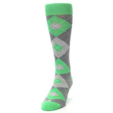 Image of Kelly Green Gray Argyle Men's Dress Socks (side-2-front-06)
