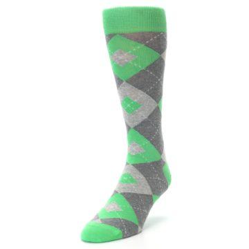 Image of Kelly Green Gray Argyle Men's Dress Socks (side-2-front-07)