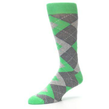 Image of Kelly Green Gray Argyle Men's Dress Socks (side-2-09)