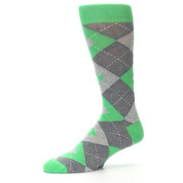 Image of Kelly Green Gray Argyle Men's Dress Socks (side-2-10)
