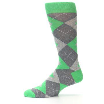 Image of Kelly Green Gray Argyle Men's Dress Socks (side-2-11)
