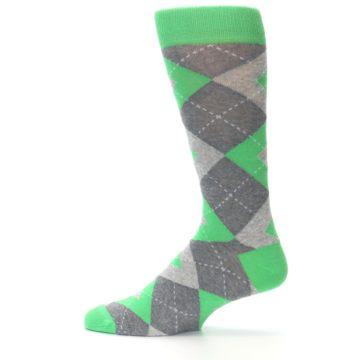 Image of Kelly Green Gray Argyle Men's Dress Socks (side-2-12)