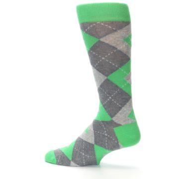 Image of Kelly Green Gray Argyle Men's Dress Socks (side-2-13)