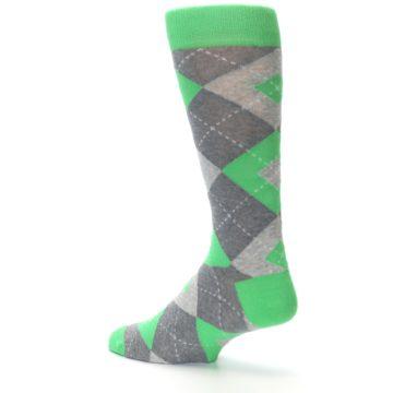Image of Kelly Green Gray Argyle Men's Dress Socks (side-2-back-14)