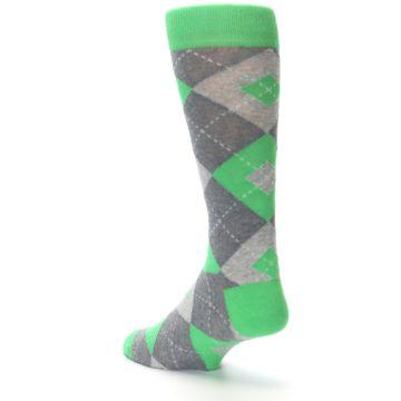 Image of Kelly Green Gray Argyle Men's Dress Socks (side-2-back-15)