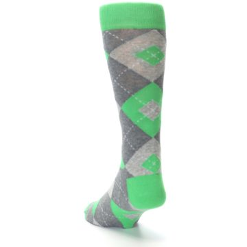 Image of Kelly Green Gray Argyle Men's Dress Socks (side-2-back-16)