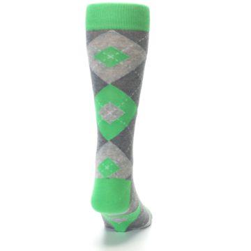 Image of Kelly Green Gray Argyle Men's Dress Socks (back-19)