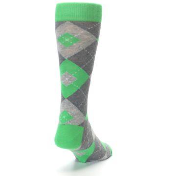 Image of Kelly Green Gray Argyle Men's Dress Socks (side-1-back-20)