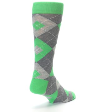 Image of Kelly Green Gray Argyle Men's Dress Socks (side-1-back-21)