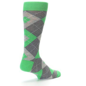 Image of Kelly Green Gray Argyle Men's Dress Socks (side-1-back-22)
