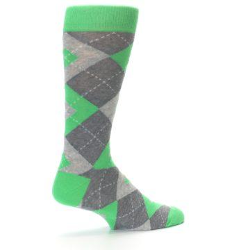 Image of Kelly Green Gray Argyle Men's Dress Socks (side-1-23)