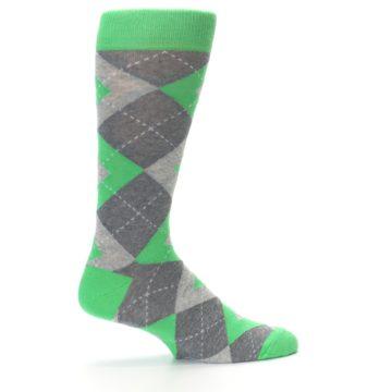 Image of Kelly Green Gray Argyle Men's Dress Socks (side-1-24)