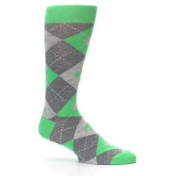 Image of Kelly Green Gray Argyle Men's Dress Socks (side-1-25)