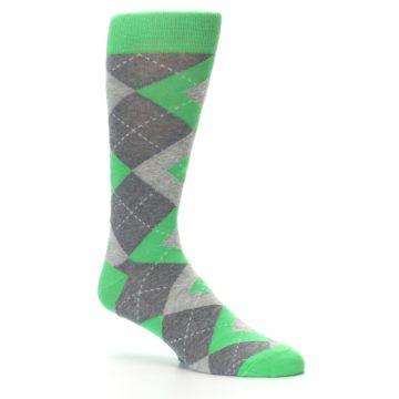 Image of Kelly Green Gray Argyle Men's Dress Socks (side-1-26)