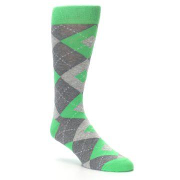 Image of Kelly Green Gray Argyle Men's Dress Socks (side-1-27)
