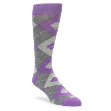 Image of Wisteria Purple Gray Argyle Men's Dress Socks (side-1-front-01)