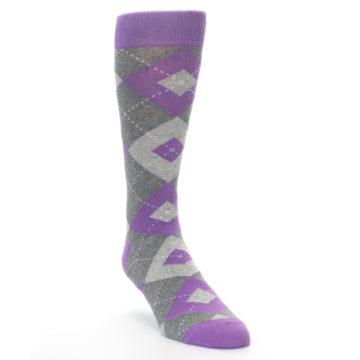 Image of Wisteria Purple Gray Argyle Men's Dress Socks (side-1-front-02)