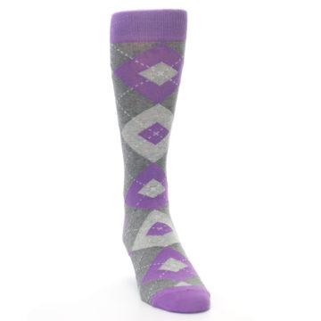 Image of Wisteria Purple Gray Argyle Men's Dress Socks (side-1-front-03)