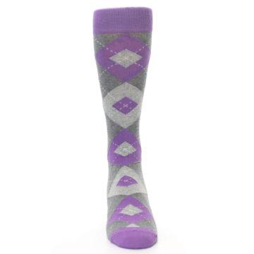 Image of Wisteria Purple Gray Argyle Men's Dress Socks (front-04)