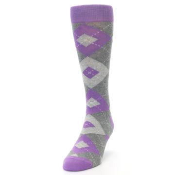 Image of Wisteria Purple Gray Argyle Men's Dress Socks (side-2-front-06)