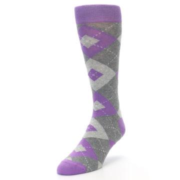 Image of Wisteria Purple Gray Argyle Men's Dress Socks (side-2-front-07)