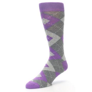 Image of Wisteria Purple Gray Argyle Men's Dress Socks (side-2-front-08)