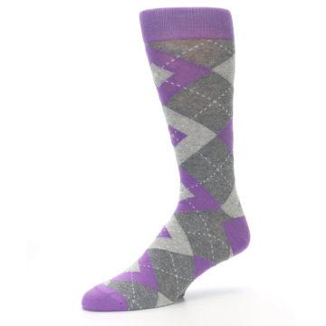 Image of Wisteria Purple Gray Argyle Men's Dress Socks (side-2-09)