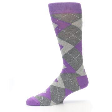 Image of Wisteria Purple Gray Argyle Men's Dress Socks (side-2-10)