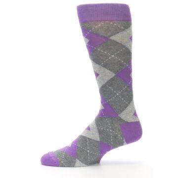 Image of Wisteria Purple Gray Argyle Men's Dress Socks (side-2-11)