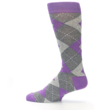 Image of Wisteria Purple Gray Argyle Men's Dress Socks (side-2-12)