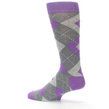 Image of Wisteria Purple Gray Argyle Men's Dress Socks (side-2-13)