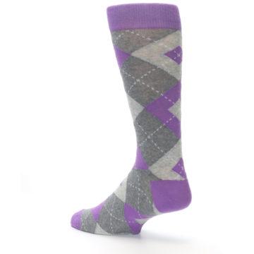 Image of Wisteria Purple Gray Argyle Men's Dress Socks (side-2-back-14)