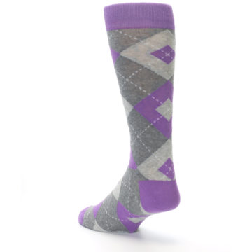 Image of Wisteria Purple Gray Argyle Men's Dress Socks (side-2-back-15)