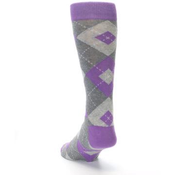 Image of Wisteria Purple Gray Argyle Men's Dress Socks (side-2-back-16)