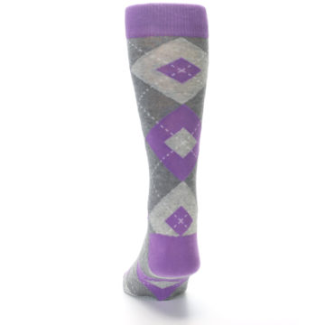 Image of Wisteria Purple Gray Argyle Men's Dress Socks (back-17)