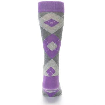 Image of Wisteria Purple Gray Argyle Men's Dress Socks (back-18)