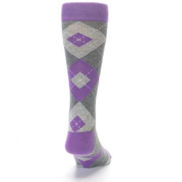 Image of Wisteria Purple Gray Argyle Men's Dress Socks (back-19)