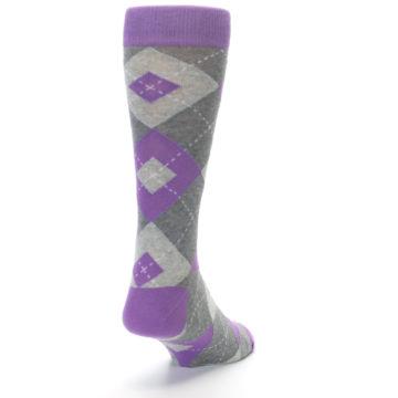 Image of Wisteria Purple Gray Argyle Men's Dress Socks (side-1-back-20)