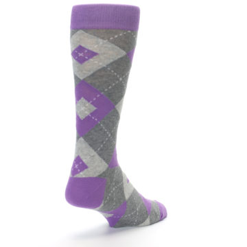Image of Wisteria Purple Gray Argyle Men's Dress Socks (side-1-back-21)