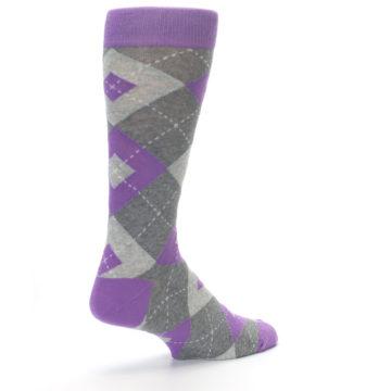 Image of Wisteria Purple Gray Argyle Men's Dress Socks (side-1-back-22)
