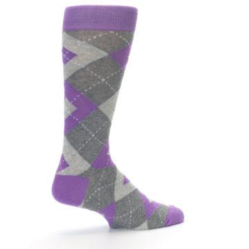Image of Wisteria Purple Gray Argyle Men's Dress Socks (side-1-23)