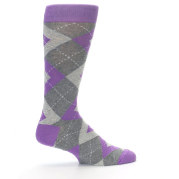Image of Wisteria Purple Gray Argyle Men's Dress Socks (side-1-24)